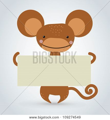 Cartoon monkey ape holding clean white banner