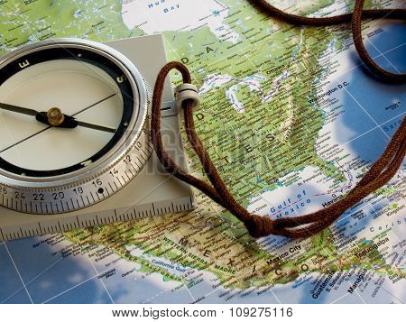 Navigate with compass. Map of north america.