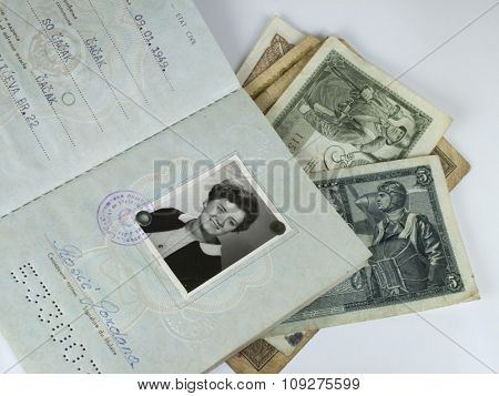 Old passport with old money. Travel indentification documents and money, preparing for a journey