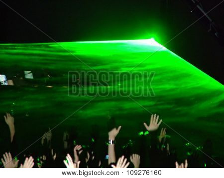 Green laser on the stage