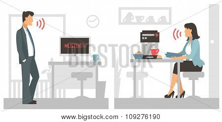 Voice control vector illustration. Smart computer