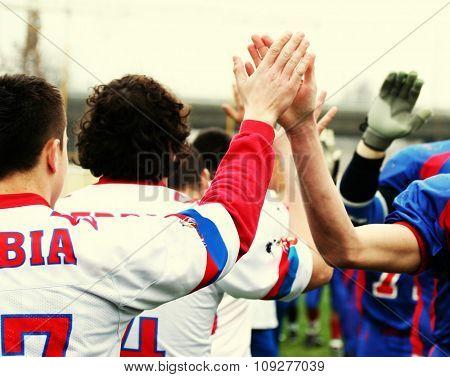 American football sport concept. Team fairplay