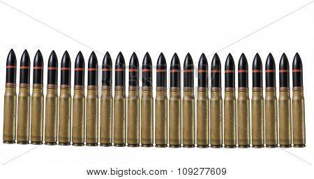 Many machinegun bullets in pistol bullet formation. War concept
