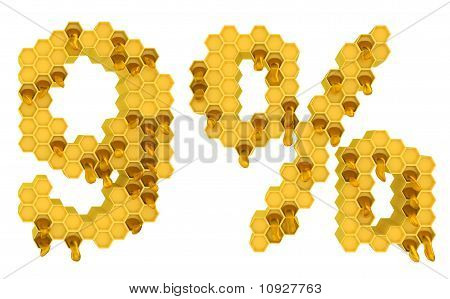 Honey Font 9 Numeral And Percent Mark Isolated