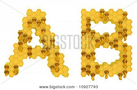 Honey Font A And B Letters Isolated