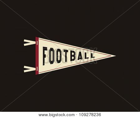 College Football Pennant Banner Icon. Sport flag, training camp emblem. University team label elemen