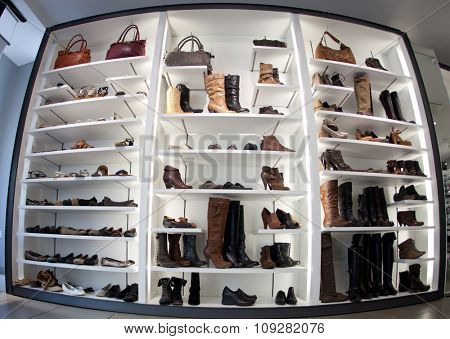 Fashion shoe store shelf