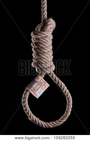 50 Euro bill hanging on a hangman noose. Isolated