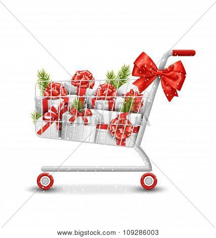 Christmas Winter Sale Shopping Cart with White Gift Boxes and Pi