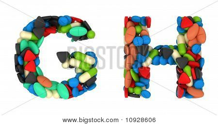 Medical Font G And H Pills Letters