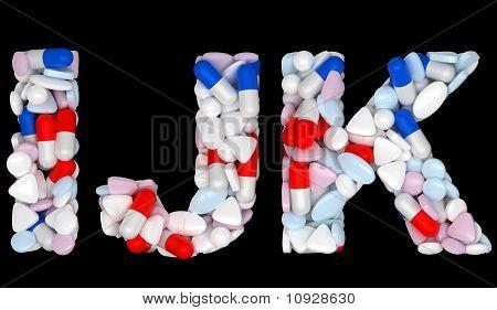 Medical Font I J And K Pills Letters