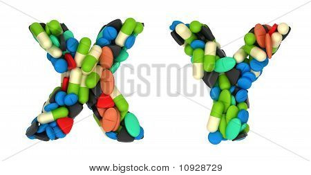 Medical Font X And Y Pills Letters