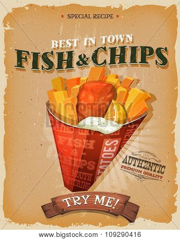 Grunge And Vintage Fish And Chips Poster