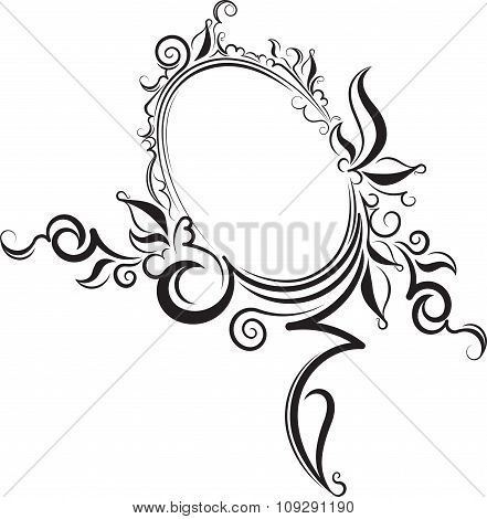 Rich Decorated Vintage Oval Frame With Blank Space For Text. May Be Used As Greeting Card Or Invitat