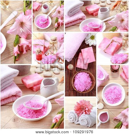 Pink Spa Concept Collage. Soap And Essensials Spa Objects