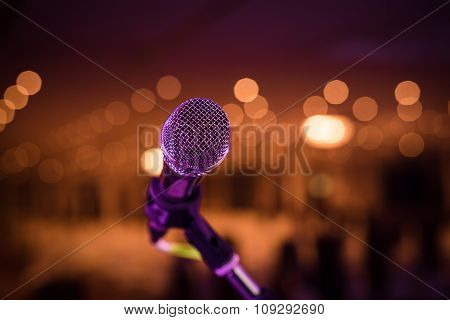 Wired Microphone Stand On The Outdoor Venue  Microphone Stand On The Stage Venue With Blur Bokeh Bac