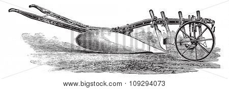XLU plow, J Cooke for deep plowing in tough ground, vintage engraved illustration. Industrial encyclopedia E.-O. Lami - 1875.