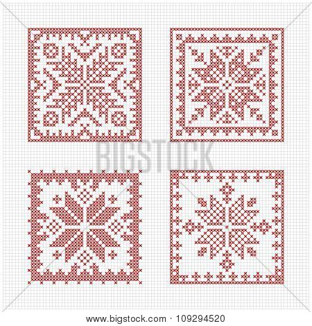 Set of tiles Scandinavian cross stitch pattern. Traditional biscornu design - geometric redwork ornament for embroidery. Perfect for Christmas design. Cross-stitch border frame. Vector illustration poster