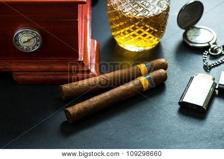 Cuban Cigars With Cognac And Humidor