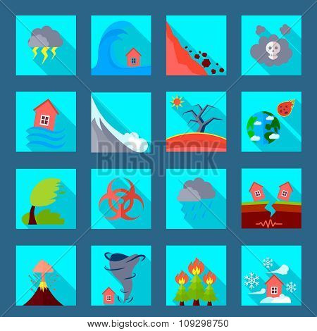 Natural disaster flat icons set