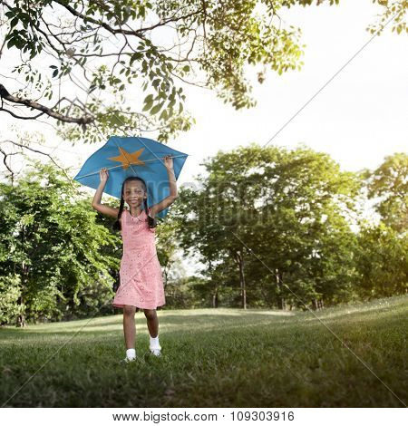 African Girl Playing Kite Activity Cocnept