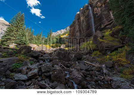 Girl Taking Picture Of Bridal Veil Falls Telluride Colorado Usa