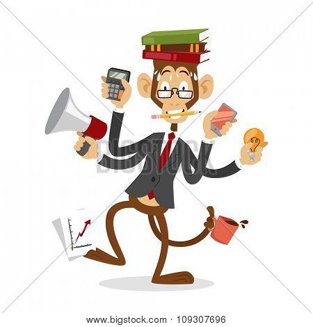 Cartoon monkey business man stress dancing. Business monkey isolated. Cartoon monkey dancing business life  illustration. Business office life concept. Monkey vector, monkey like people business