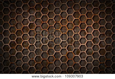 Rusty Hexagon Pattern Grate Texture