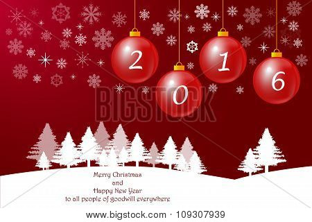Merry Christmas Card On The Red Background