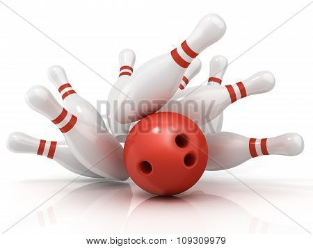 Red bowling ball and scattered pin