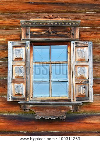 The Window In Traditional Russian Rural Wooden House