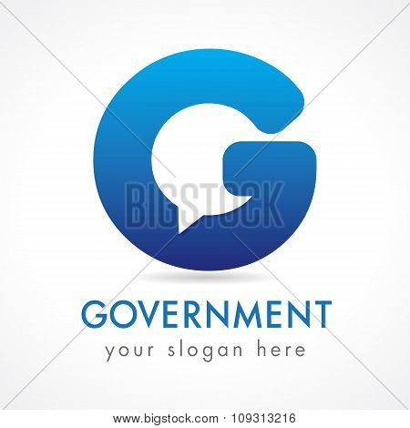 G letter corporate logo. E-government service. Business or educational consult, blue colored volume isolated abstract logotype. FAQ, I.Q., contact us, template of computer or smartphone settings. poster