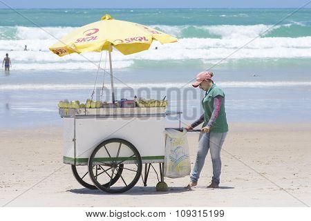 Vending Cart On Brazilian Beach