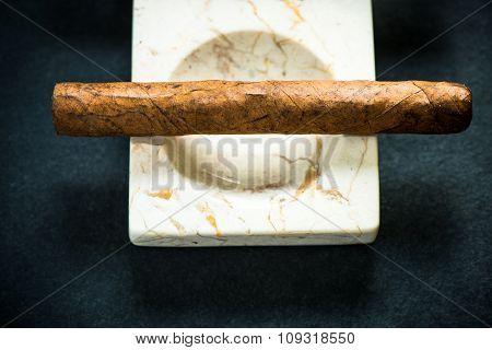 Cuban Cigar In Marble Ash Tray