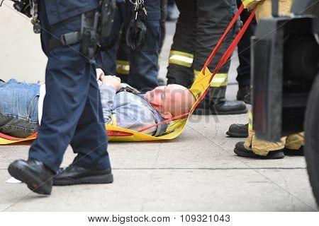 Evacuating mock casualty