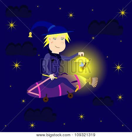 Witch flying at night on the vacuum cleaner