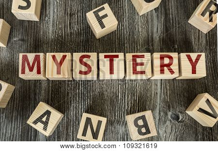 Wooden Blocks with the text: Mystery poster