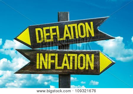Deflation - Inflation signpost with sky background