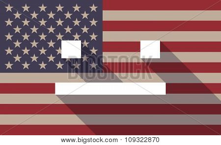 Long Shadow Vector Usa Flag Icon With A Emotionless Text Face