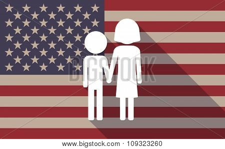 Illustration of a long shadow vector USA flag icon with a childhood pictogram poster