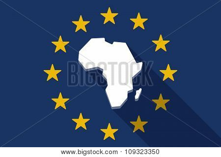 European Union  Long Shadow Flag With  A Map Of The African Continent