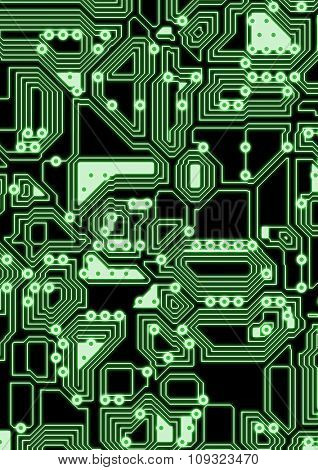 Artificial glowing cyber circuit illustration