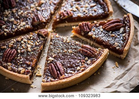Slicing Pecan Pie, On Wooden Table