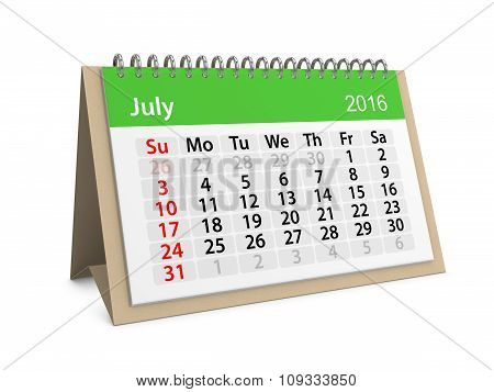Monthly Calendar For July 2016. 3D Illustration
