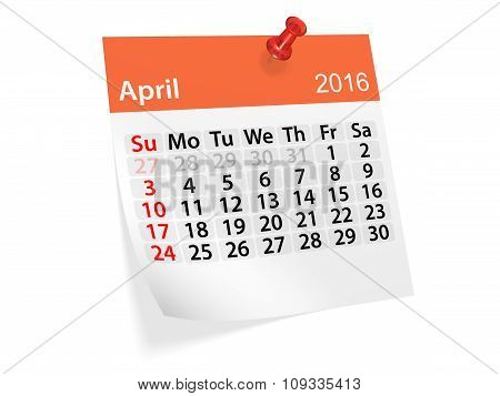 Monthly Calendar For April 2016. 3D Illustration