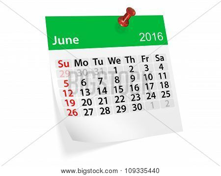 Monthly Calendar For June 2016. 3D Illustration