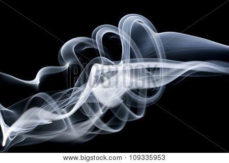 White smoke on black background, abstract smoke