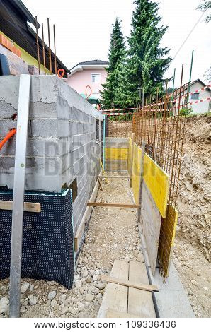 Formwork For The Concrete Fence In A Family House Terrace