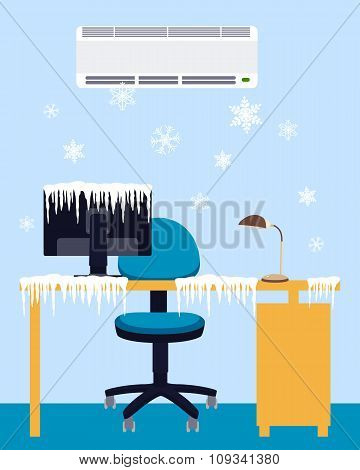 Frozen workplace under a powerful air conditioner. Vector illustration