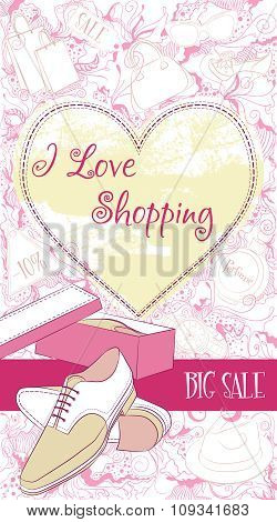 Decorative design card with men shoes